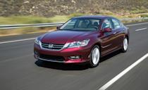 """<p>One of America's most popular cars for decades, the mid-size <a href=""""http://caranddriver.com/honda/accord"""" rel=""""nofollow noopener"""" target=""""_blank"""" data-ylk=""""slk:Honda Accord"""" class=""""link rapid-noclick-resp"""">Honda Accord</a> is now in its 10th generation and continues to earn applause for its safety, reliability, and fun-to-drive dynamics. Its ninth generation was sold from 2013 to 2017 and was a fixture on our annual 10Best Cars list, making the cut every year. It was offered as a sedan or a sexier two-door coupe, and both offer impressive interior space, fuel efficiency, and build quality. They also perform well. Most were sold with a spunky four-cylinder, but a V-6 was optional, and it packs quite a punch. Honda even offered a manual transmission, however, most were sold with an automatic. Prices start at a little more than $9000.</p>"""