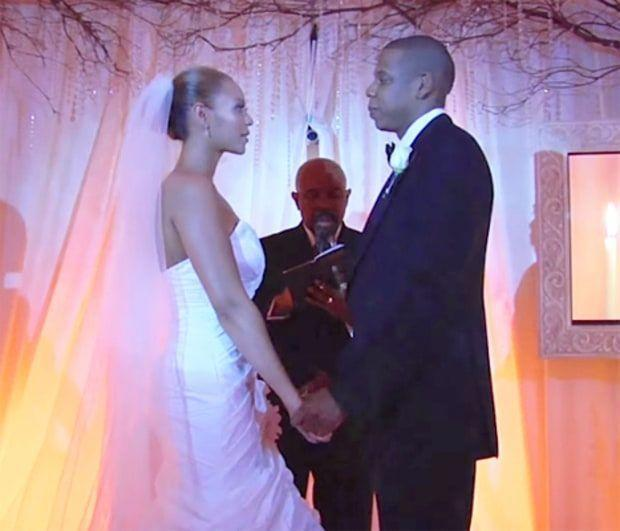 """<p>Only 40 guests were invited to <a href=""""http://www.essence.com/2016/04/04/9-things-you-didnt-know-about-beyonce-jay-z-wedding"""" rel=""""nofollow noopener"""" target=""""_blank"""" data-ylk=""""slk:Beyonce and Jay-Z"""" class=""""link rapid-noclick-resp"""">Beyonce and Jay-Z</a>'s super private wedding on April 4, 2008, inside Jay-Z's penthouse in Tribeca. Beyonce wore a strapless white gown designed by her mother, and there was no traditional bridal party. </p>"""