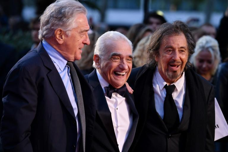 (L-R) US actor Al Pacino, US filmmaker Martin Scorsese and US actor Robert De Niro, pictured here at the 2019 BFI London Film Festival, have joined forces