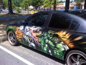 Hulk painted on car