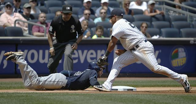 New York Yankees third baseman Yangervis Solarte, right, applies the tag on Tampa Bay Rays' Kevin Kiermaier, who overran third on Ben Zobrist's third-inning double in a baseball game at Yankee Stadium in New York, Wednesday, July 2, 2014. Kiermaier was safe. (AP Photo/Kathy Willens)