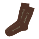 "<p>The rust color of <span>The ""Tolerate It"" Socks</span> ($15) will go with almost anything.</p>"