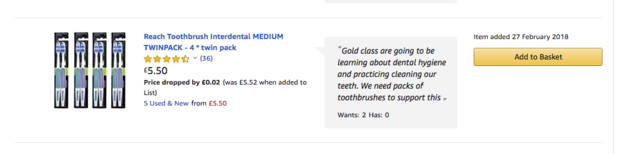Gibside School includes toothbrushes on its wish list to help children practice cleaning their teeth.
