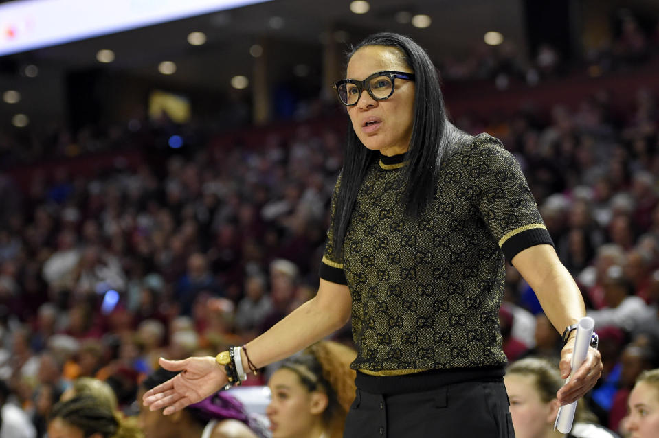 FILE - In this March 8, 2020, file photo, South Carolina head coach Dawn Staley reacts during a championship match against Mississippi State at the Southeastern Conference women's NCAA college basketball tournament in Greenville, S.C. South Carolina is ranked No. 1 in the women's NCAA college basketball poll released Tuesday, Nov. 10, 2020. (AP Photo/Richard Shiro, File)