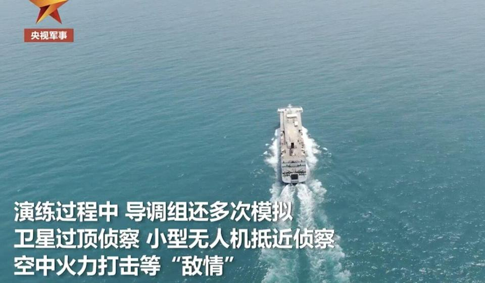 The report showed military vehicles being transported on the cargo ship. Photo: Weibo