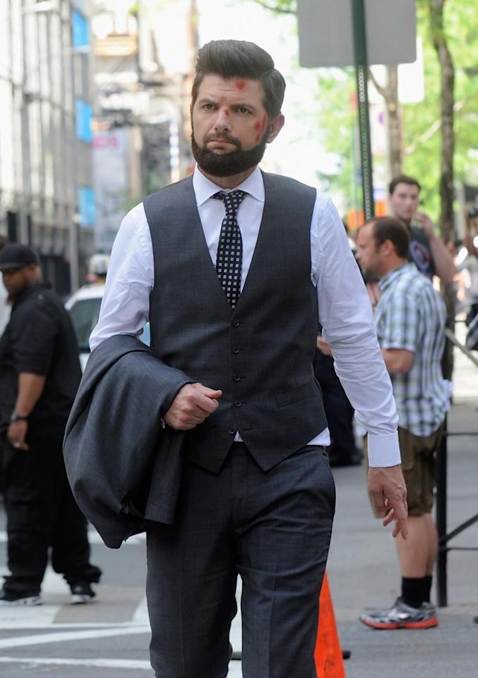 "Adam Scott filming on location for ""The Secret Life of Walter Mitty"" on May 13, 2012 in New York City."
