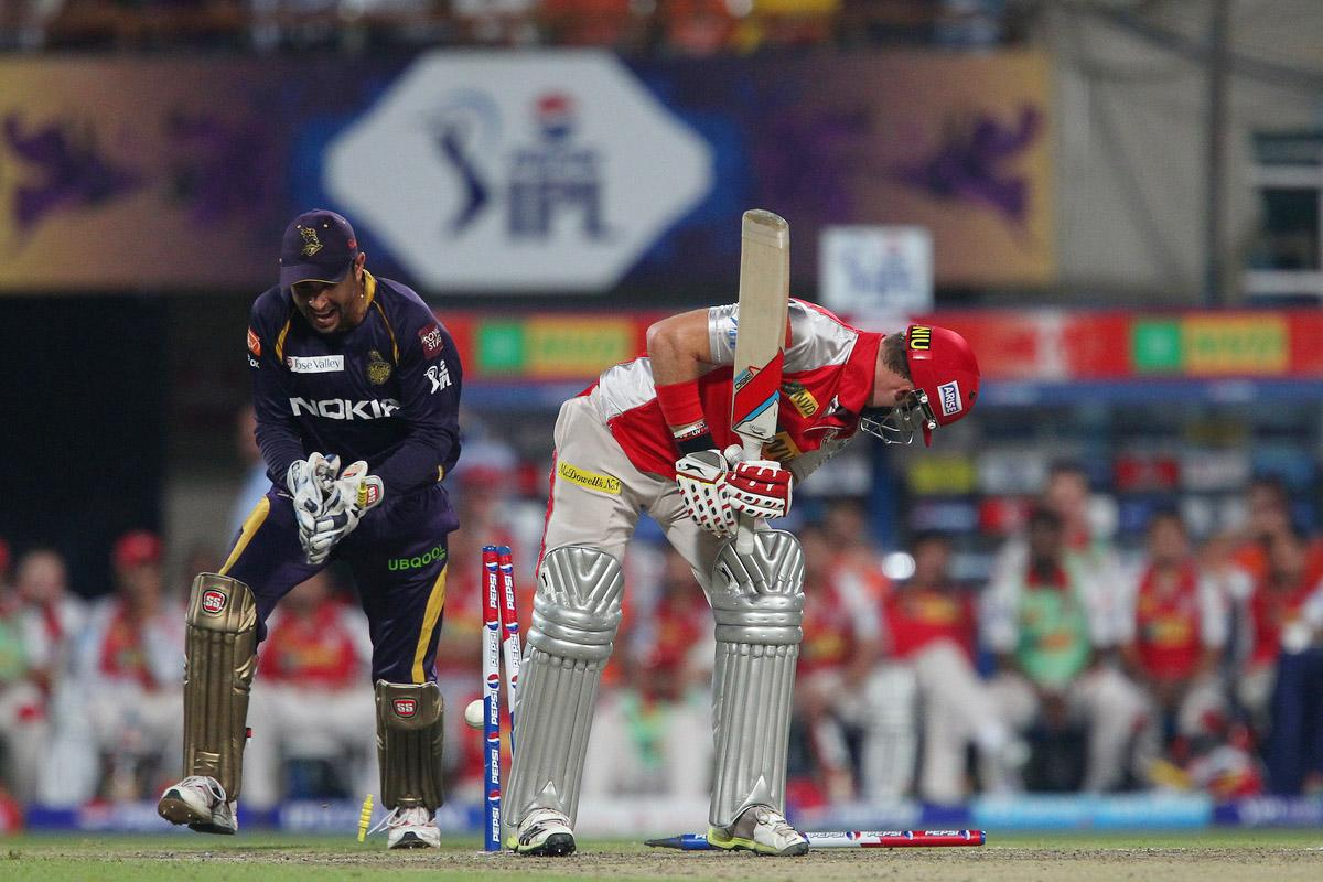 David Miller is bowled by Sarabjit Singh Ladda during match 35 of the Pepsi Indian Premier League between The Kolkata Knight Riders and the Kings XI Punjab held at the Eden Gardens Stadium in Kolkata on the 26th April 2013. (BCCI)