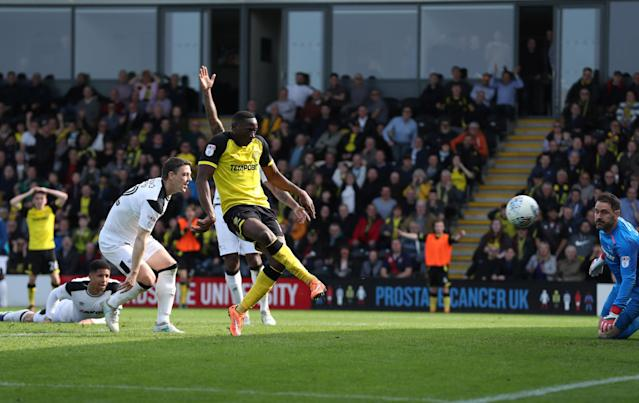 "Soccer Football - Championship - Burton Albion vs Derby County - Pirelli Stadium, Burton-on-Trent, Britain - April 14, 2018 Burton Albion's Lucas Akins scores their third goal Action Images/John Clifton EDITORIAL USE ONLY. No use with unauthorized audio, video, data, fixture lists, club/league logos or ""live"" services. Online in-match use limited to 75 images, no video emulation. No use in betting, games or single club/league/player publications. Please contact your account representative for further details."
