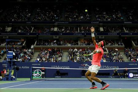 FILE PHOTO: Tennis - US Open - New York, U.S. - September 2, 2017 - Rafael Nadal of Spain serves during his third round match against Leonardo Mayer of Argentina. REUTERS/Andrew Kelly/File Photo