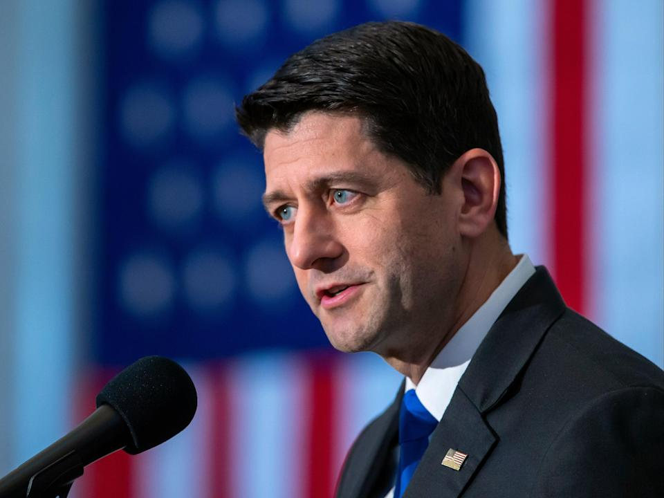 Former House speaker Paul Ryan, has become the latest GOP figure to condemn Donald Trump (EPA)
