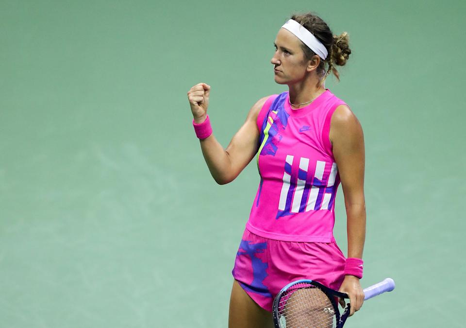 NEW YORK, NEW YORK - SEPTEMBER 10: Victoria Azarenka of Belarus reacts in the third set during her Women's Singles semifinal match against Serena Williams of the United States on Day Eleven of the 2020 US Open at the USTA Billie Jean King National Tennis Center on September 10, 2020 in the Queens borough of New York City. (Photo by Matthew Stockman/Getty Images)