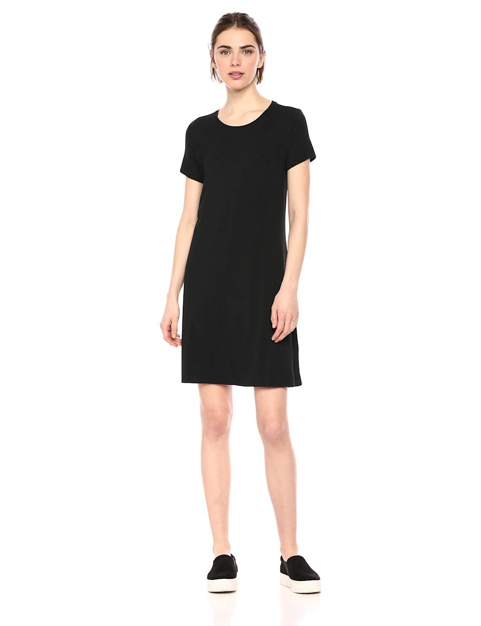 """<h2>Amazon Essentials Short-Sleeve Scoopneck A-line Dress</h2><br>One of our readers' cross-seasonal wardrobe workhorses is now a 30% off Amazon Prime Day bestseller — one reviewer loved this easy t-shirt dress style SO much that she ordered two: """"I needed a simple dress that I could dress up for work or down for just hanging around the house. I used the Prime Wardrobe feature and ordered 3 dresses to try on. When I put this one on my husband happened to come in, the first words out of his mouth were 'that's an awesome dress.' I sent the other two back and ordered another one of these in a different color.""""<br><br><strong>4.5 out of 5 stars and 2,158 reviews</strong><br><br><strong>Amazon Essentials</strong> Short Sleeve Scoopneck A-line Dress, $, available at <a href=""""https://amzn.to/3iTzsgs"""" rel=""""nofollow noopener"""" target=""""_blank"""" data-ylk=""""slk:Amazon"""" class=""""link rapid-noclick-resp"""">Amazon</a>"""