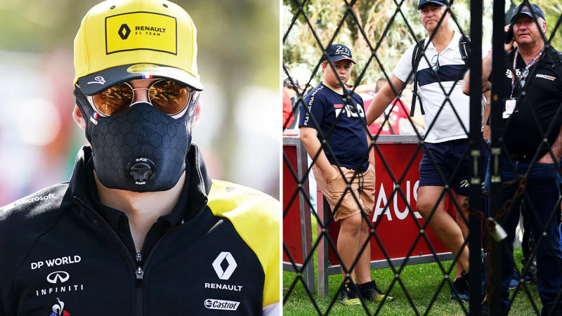 Esteban Ocon, pictured here wearing a face mask at the Australian Grand Prix before fans were locked out and kept in the dark.