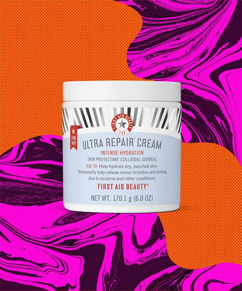 "With colloidal oatmeal, shea butter, and ceramide 3, this hydrating moisturizer can soothe even the driest skin (plus, the fast-absorbing whipped texture makes it perfect for spring). In fact, Ultra Repair Cream also helps relieve eczema symptoms. There are no rules: Apply the cream anywhere you need moisture — from your head to your toes — and prepare for silky smooth skin all over. Even better? 10% of retail sales will be added to First Aid Beauty's $1 Million FAB AID student loan repayment initiative.<br><br><strong>First Aid Beauty</strong> Ultra Repair Cream, $, available at <a href=""https://go.skimresources.com/?id=30283X879131&url=https%3A%2F%2Fwww.firstaidbeauty.com%2Fskin-care-products%2Fmoisturizers%2Fultra-repair-cream"" rel=""nofollow noopener"" target=""_blank"" data-ylk=""slk:First Aid Beauty"" class=""link rapid-noclick-resp"">First Aid Beauty</a>"