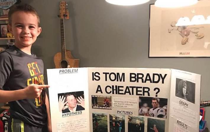 Ace Davis, 10, created a science project that proved Tom Brady is a cheater. (Facebook)