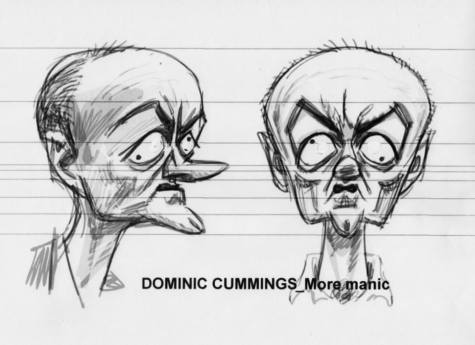 A sketch for the Dominic Cummings puppet (Avalon/Spitting Image Workshop/PA)