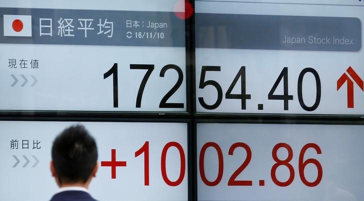 A man walks in front of an electronic board showing Japan's Nikkei average outside a brokerage in Tokyo