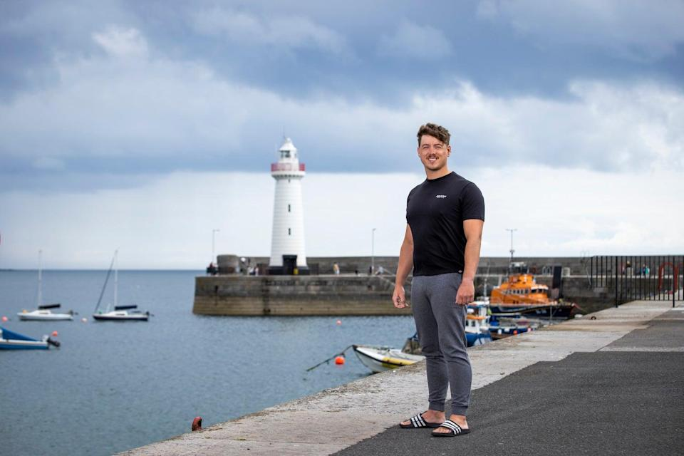 Jordan Leckey at Donaghadee Harbour in Northern Ireland, close to where he set off swimming to Portpatrick in Scotland (Liam McBurney/PA)