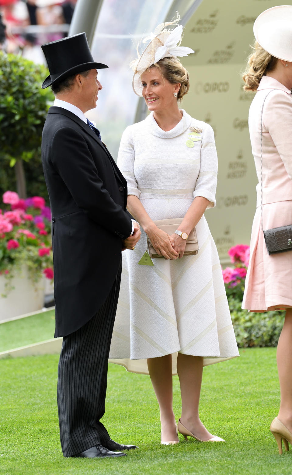 <p>On day three of Ascot in 2017, Sophie Countess of Wessex kept it simple but classy in an off-white ensemble. <em>[Photo: Getty]</em> </p>
