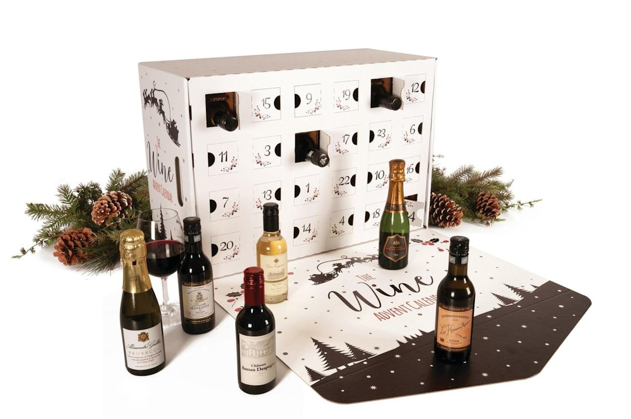 """<p><a rel=""""nofollow"""" href=""""https://www.wsjwine.com/product/Wine-Advent-Calendar/3687250?productId=prod4000579&itemCode=3687250"""">SHOP NOW</a> $129.99</p><p><strong>Best for:</strong> Your friend who loves wine flights.</p><p><strong>What's inside: </strong>These petite bottles offer a a generous glassful of  24 different wines including an award-winning champagne, a 2015 vintage bordeaux, a 5-star estate rioja, a barrel-aged chardonnay, and more. </p>"""