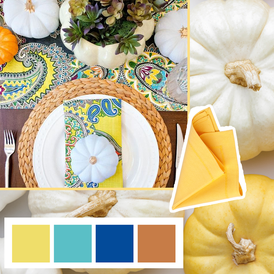 "<p>A pattern like paisley is a great way to incorporate bright, cheery yellows with rich, bold blues and hints of magenta! </p><p><em><a href=""https://www.anightowlblog.com/thanksgiving-tablescape-succulent-centerpiece/"" rel=""nofollow noopener"" target=""_blank"" data-ylk=""slk:Get the tutorial at A Night Owl Blog »"" class=""link rapid-noclick-resp"">Get the tutorial at A Night Owl Blog »</a></em></p>"