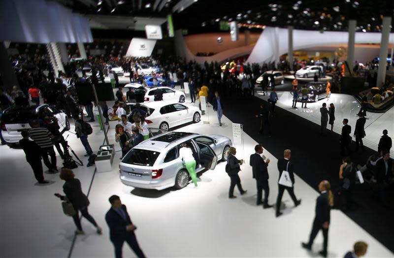 The stand of Volkswagen is pictured during a media preview day at the Frankfurt Motor Show