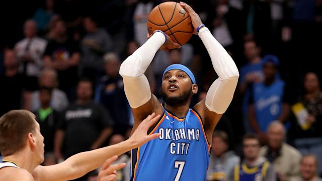 "<a class=""link rapid-noclick-resp"" href=""/nba/players/3706/"" data-ylk=""slk:Carmelo Anthony"">Carmelo Anthony</a> is, finally, officially a Rocket. Now we find out just what role he'll be asked to play, and whether he'll be comfortable with it. (AP)"