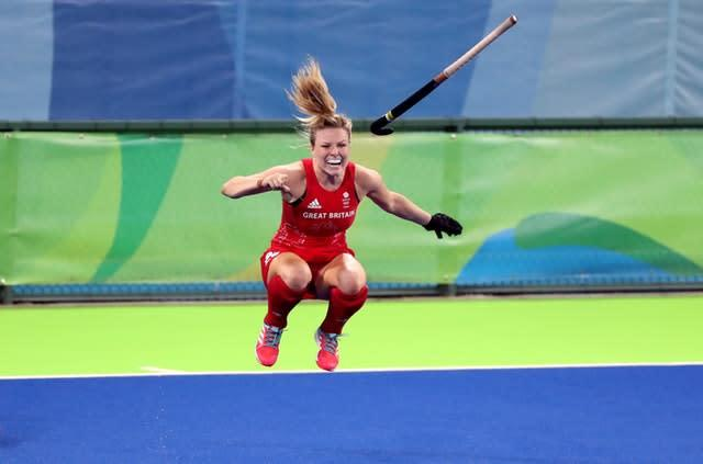 Hollie Webb jumps for joy after scoring the winning penalty as Great Britain's women claimed a first Olympic hockey gold by beating defending champions Holland at Rio 2016. The final finished 3-3 in normal time, before Britain's goalkeeper Maddie Hinch made a string of remarkable saves in the 2-0 shootout success (Owen Humphreys/PA)