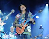 """<p>The veteran rock band, fronted by Carlos Santana, has had six top 10 hits. The first two, """"Evil Ways"""" and """"Black Magic Woman,"""" came in 1970. The last four, including the chart-toppers """"Smooth"""" (featuring Rob Thomas) and """"Maria Maria"""" (featuring The Product G&B) followed his Grammy-anointed 1999 comeback. """"Smooth"""" logged 12 weeks at No. 1, a total topped by only one Latin/pop hit going all the way back to 1940, Los Del Río's 1996 novelty smash """"Macarena,"""" which topped the chart for 14 weeks. Carlos Santana was born in Mexico. (Photo: Larry Marano / Contributor)</p>"""