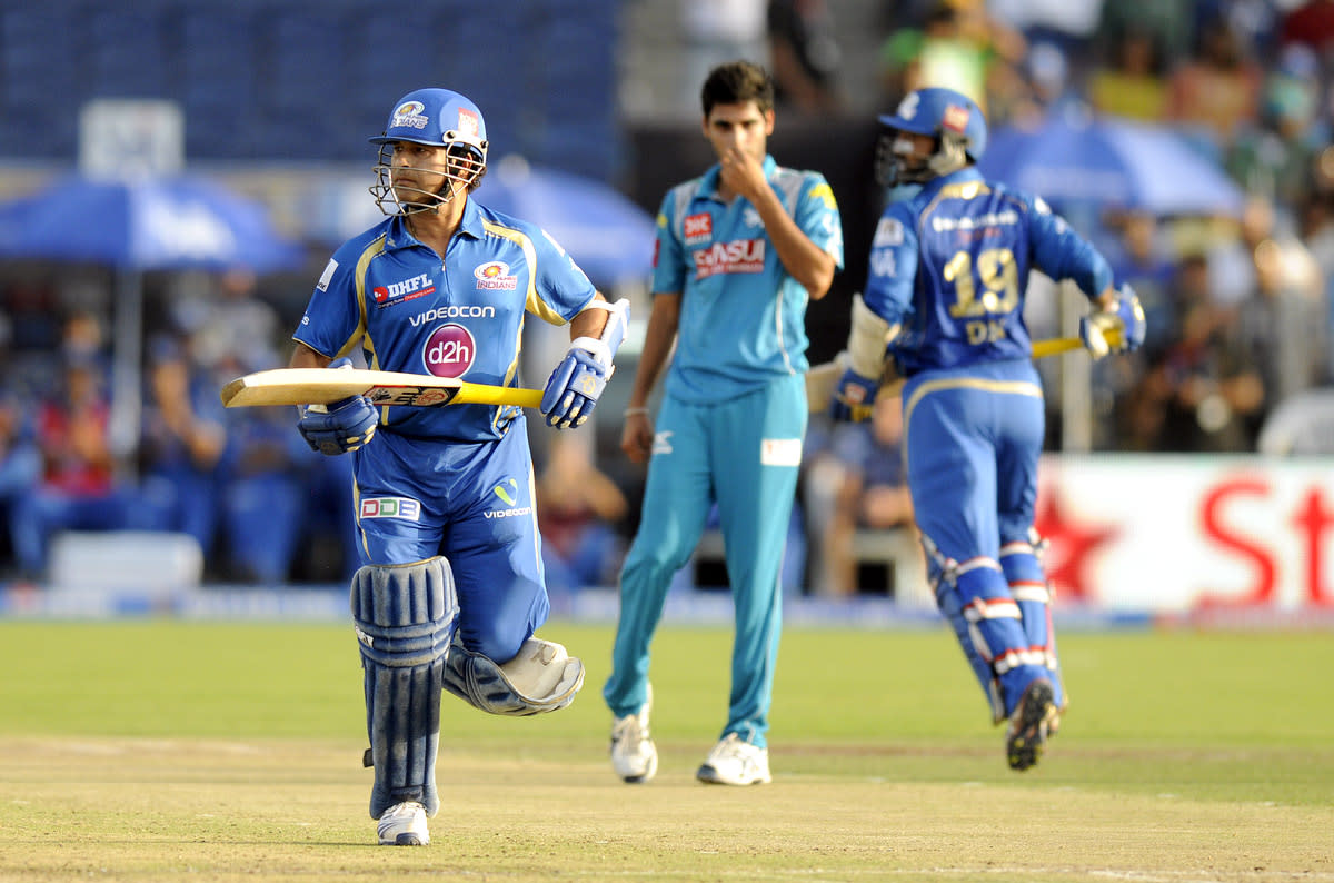 Sachin Tendulkar of Mumbai Indians bats during match 58 of the Pepsi Indian Premier League ( IPL) 2013  between The Pune Warriors India and the Mumbai Indians held at the Subrata Roy Sahara Stadium, Pune on the 11th May 2013. (BCCI)