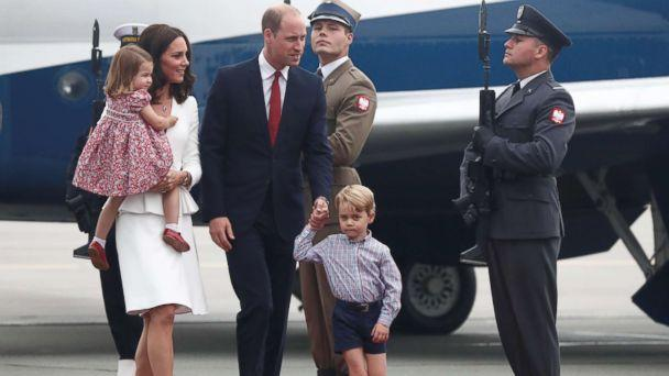 PHOTO: Prince William and his wife Catherine, The Duchess of Cambridge, with their children Prince George and Princess Charlotte arrive in Warsaw, Poland, July 17, 2017. (Kacper Pempel/Reuters)