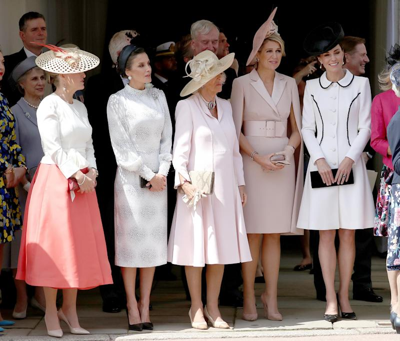 Sophie Countess of Wessex, Queen Letizia of Spain, the Duchess of Cornwall, Queen Maxima of the Netherlands and the Duchess of Cambridge at the Order of the Garter Service (PA Wire/PA Images)