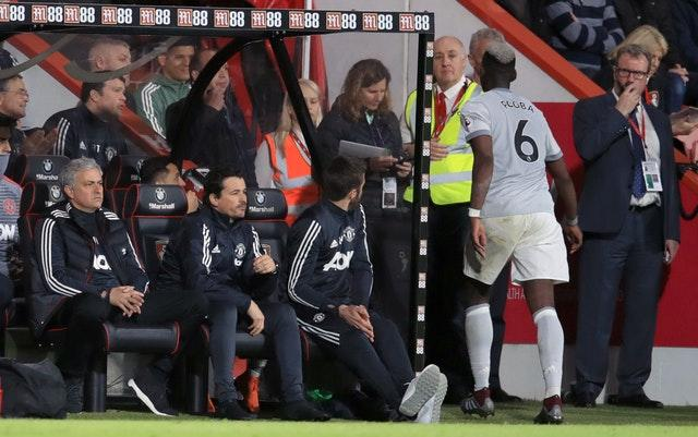 Paul Pogba, right, clashed with Jose Mourinho, left (Adam Davy/PA)