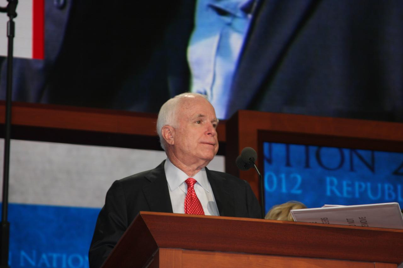 Sen. John McCain does a sound check ahead of his speech at the Republican National Convention on Wednesday, Aug. 29, 2012 (Torrey AndersonSchoepe/Yahoo! News)