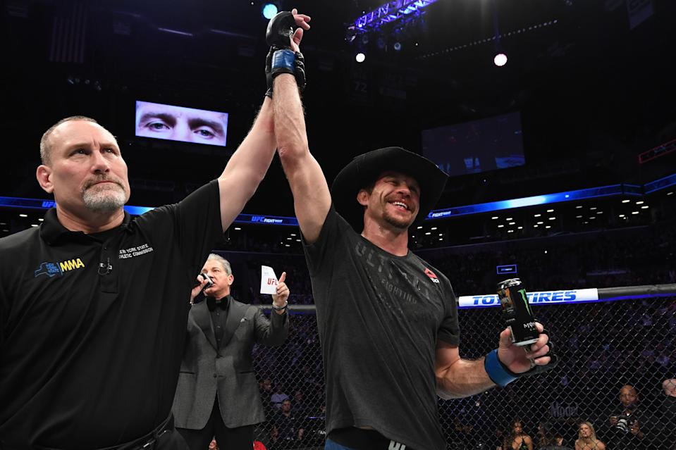 Donald Cerrone celebrates his TKO victory over Alexander Hernandez in their lightweight bout during the UFC Fight Night event at the Barclays Center on January 19, 2019 in the Brooklyn borough of New York City. (Getty Images)