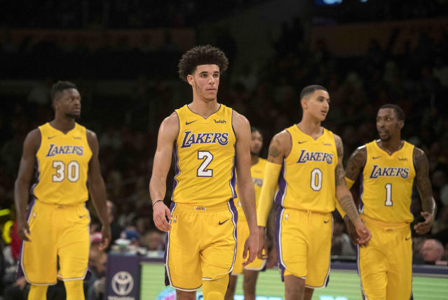 Lonzo Ball and his young Lakers teammates are going through some growing pains. (AP)