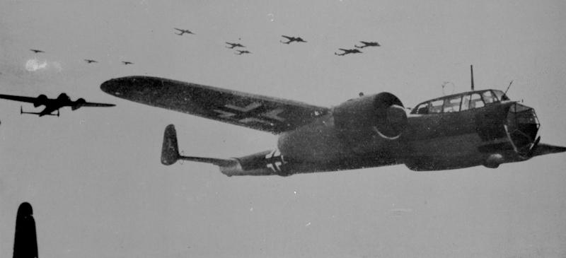 """This photo made available on Friday May 3, 2013 by the RAF Museum London shows a formation of German WWII Dornier Do17 bombers. The only known surviving example of the German Dornier Do 17 bomber known as the """"flying pencil"""" is to be salvaged from its watery grave in the English Channel. RAF Museum director Peter Dye said Friday the bomber is roughly 60 feet below the surface and that bringing it to the surface intact will be tricky. (AP Photo/RAF Museum)"""