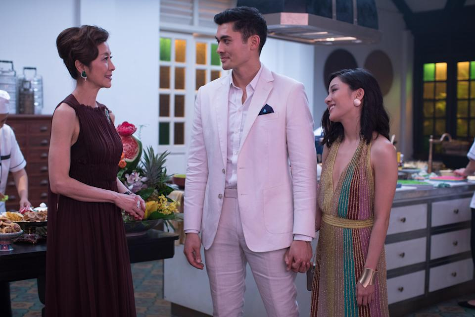 """Michelle Yeoh, Henry Golding and Constance Wu in """"Crazy Rich Asians."""""""