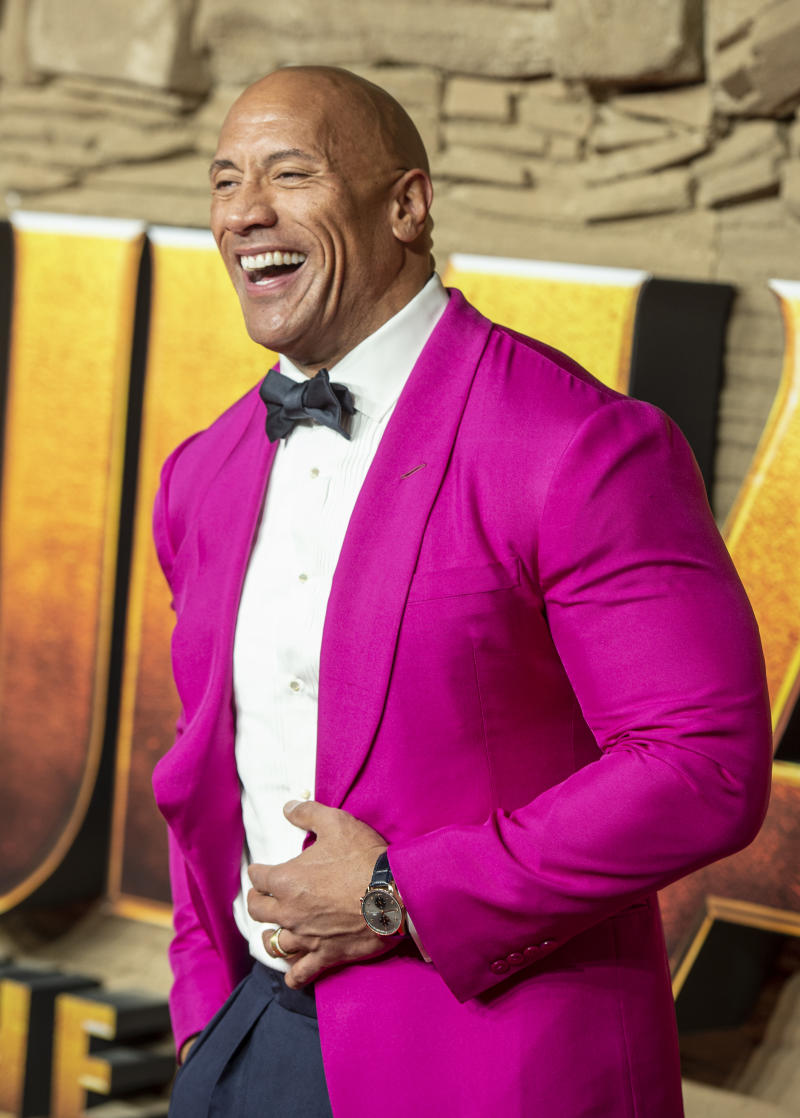 "Dwayne Johnson attends the UK Premiere of ""Jumanji: The Next Level"" at Odeon IMAX Waterloo in London. (Photo by Gary Mitchell / SOPA Images/Sipa USA)"