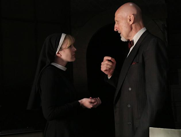 Lily Rabe as Sister Mary Eunice and James Cromwell as Dr. Arthur Arden in 'American Horror Story: Asylum'