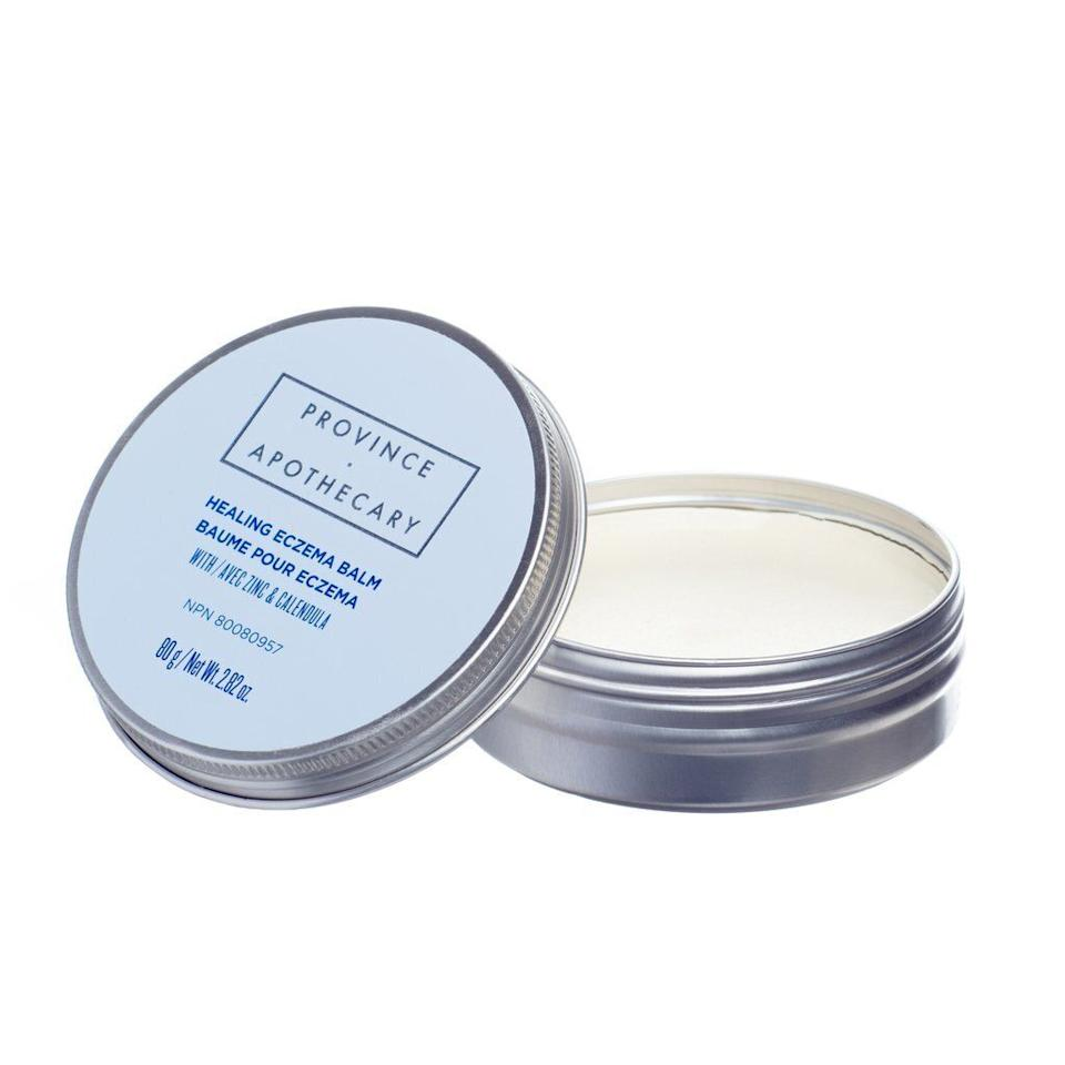 """A staple in both our beauty cabinets and our first aid kits, we reach for this balm as soon as the weather starts to turn cold. Made in Canada from locally sourced botanical ingredients, the eczema balm soothes cold weather-inflamed skin as well as minor skin irritations and itching due to eczema (it also calms rashes, poison ivy and insect bites). <a href=""""https://provinceapothecary.ca/products/healing-eczema-balm?_pos=1&_sid=2f9be8f74&_ss=r"""" target=""""_blank"""" rel=""""noopener noreferrer"""">Get it here.</a>"""
