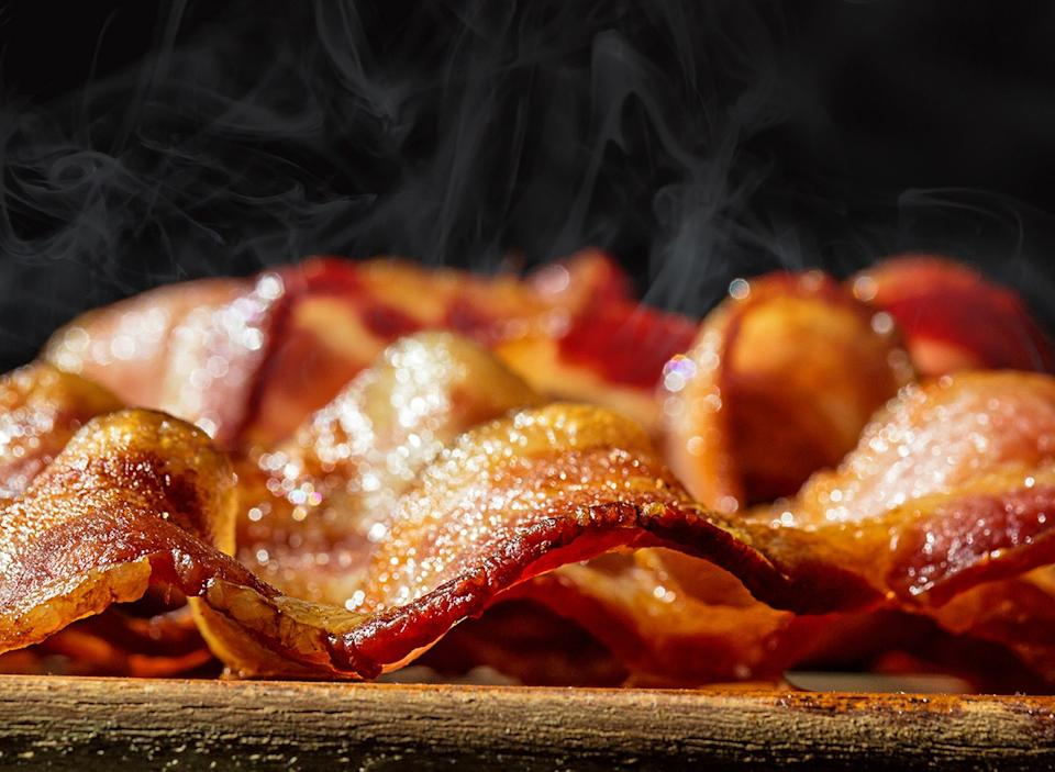 close-up of freshly cooked bacon