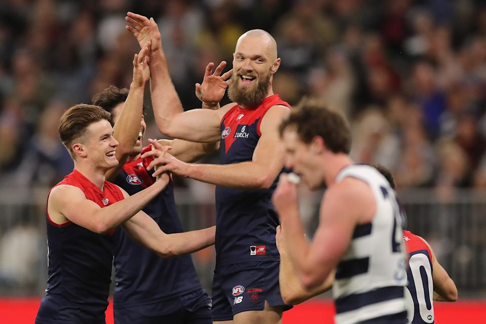Max Gawn (pictured) celebrates after scoring a goal during the 2021 AFL  Preliminary Final match against Geelong.