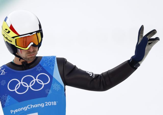 Nordic Combined Events - Pyeongchang 2018 Winter Olympics - Men's Team Gundersen LH Competition - Alpensia Ski Jumping Centre - Pyeongchang, South Korea - February 22, 2018 - Maxime Laheurte of France reacts. REUTERS/Kai Pfaffenbach