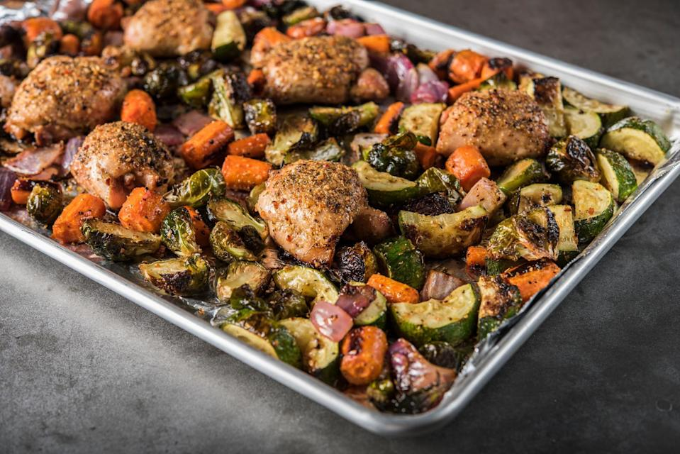 """<p>This is a great choice for an easy, hands-off summer dinner. Simply roast boneless chicken breasts with any <a href=""""https://www.thedailymeal.com/healthy-eating/monthly-guide-seasonal-produce?referrer=yahoo&category=beauty_food&include_utm=1&utm_medium=referral&utm_source=yahoo&utm_campaign=feed"""" rel=""""nofollow noopener"""" target=""""_blank"""" data-ylk=""""slk:in-season vegetables"""" class=""""link rapid-noclick-resp"""">in-season vegetables</a> you find at your farmers market or grocery store and toss with a savory blend of spices. It pretty much makes itself right in one pan. </p> <p><a href=""""https://www.thedailymeal.com/recipes/farmers-market-chicken-and-vegetables-recipe?referrer=yahoo&category=beauty_food&include_utm=1&utm_medium=referral&utm_source=yahoo&utm_campaign=feed"""" rel=""""nofollow noopener"""" target=""""_blank"""" data-ylk=""""slk:For the Farmers Market Chicken and Vegetables recipe, click here."""" class=""""link rapid-noclick-resp"""">For the Farmers Market Chicken and Vegetables recipe, click here. </a></p>"""
