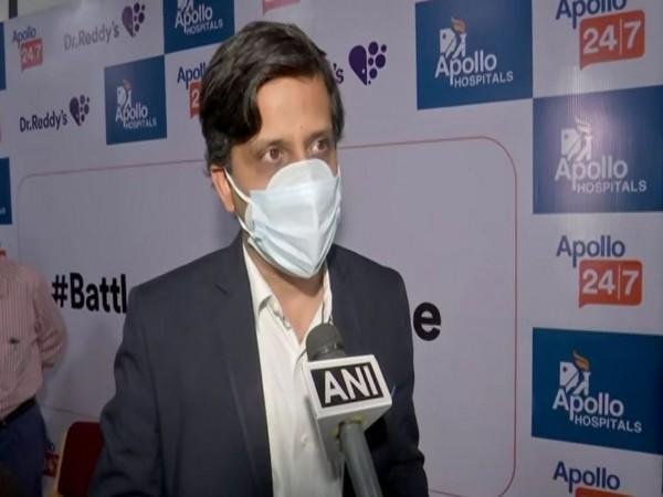 Deepak Sapra, CEO, Pharmaceutical Services and Active Pharmaceutical Ingredients, Dr. Reddy's labs speaking to ANI in Hyderabad on Monday. [Photo/ANI]
