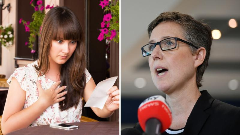 A woman shocked by her restaurant bill on the left, and ACTU boss Sally McManus on the right.