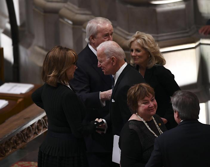 Former Vice President Joe Biden(C) arrives for the funeral service for former President George H W. Bush at the National Cathedral in Washington, D.C., on Dec. 5, 2018. (Photo: Brendan Smialowski/AFP/Getty Images)