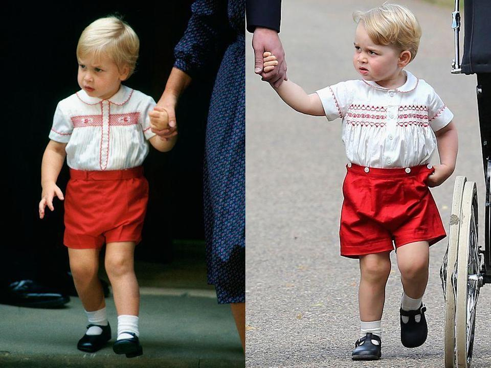<p>Prince George's outfit for Princess Charlotte's christening is an obvious nod to the past, as Prince William wore a nearly identical ensemble while visiting his newborn baby brother Harry at St. Mary's Hospital. </p>