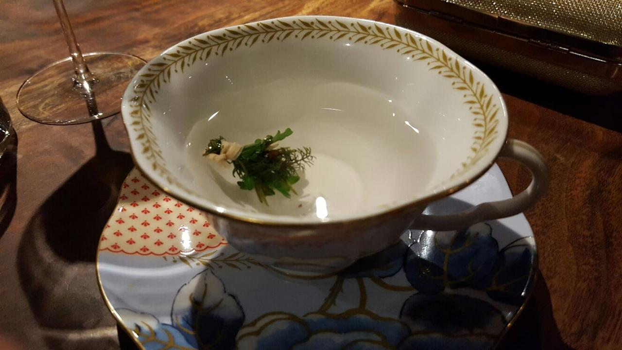 "<p>""The most heavenly tea I've ever had in my life. Each little bushel had douglas fir, yarrow, chamomile, lemon balm, anise and hyssop all picked fresh from the restaurant farm and steeped in hot meyer lemon water."" <em>[Photo: Imgur]</em> </p>"